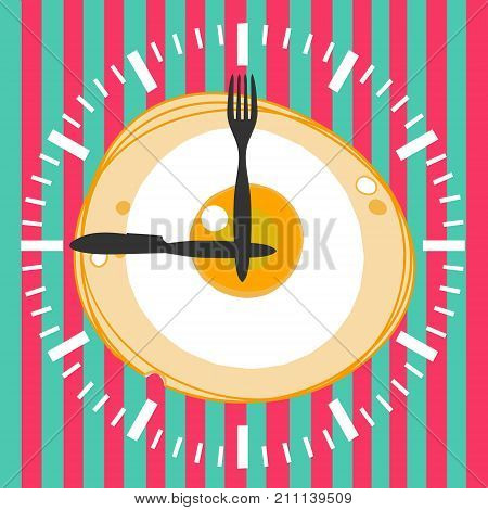 Fried egg and clock, vector illustration of breakfast. Concept for breakfast menu cafe restaurant. Logo design template. Food background