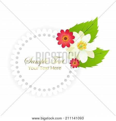 Sample text your text here happy holidays postcard with red and white flower buds and leaves, shiny gold italic sign and round frame isolated vector illustration.