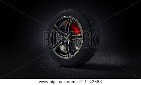 3D illustration of car rim and tyre standing on asphalt road