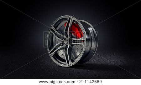 3D illustration of car rim standing on asphalt road