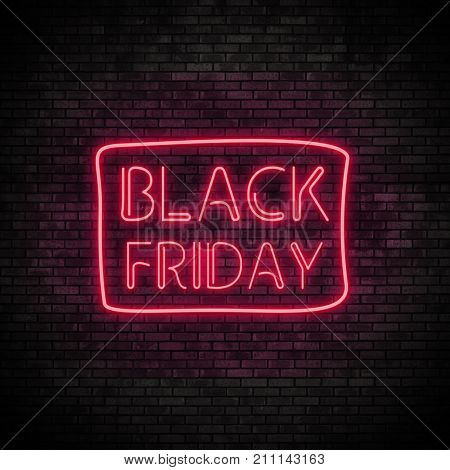 Black Friday Neon Light on Brick Wall. Sale Banner in Night Club Bar Blinking Sign Style. 3d render illustration.