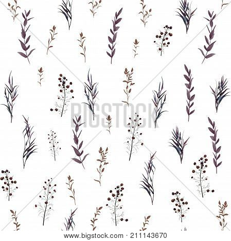 Seamless pattern of Autumn fall leaves berries foliage natural branches purple herbs hand drawn in watercolor. Vector beauty elegant background texture print textile fabric wallpaper on white