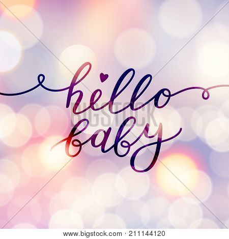 hello baby, vector lettering, baby shower card template