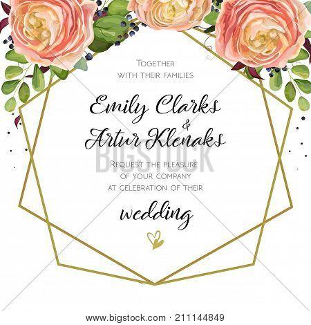 Wedding Invitation floral invite card Design with pink peach rose Ranunculus elegant flowers blue berry forest fern greenery bouquet geometric golden border crown print. Vector cute garden greeting