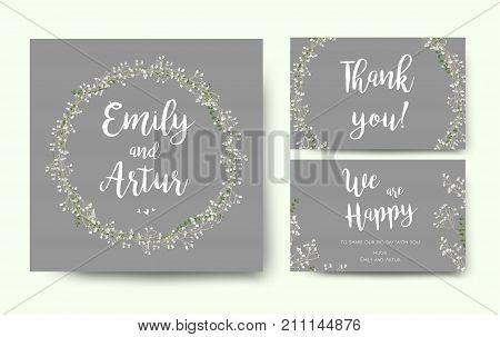 Wedding floral invitation invite flower card silver gray design with garden Baby's breath Gypsophila tiny flower wreath romantic poster banner. Vector romantic anniversary print. Elegant cute template