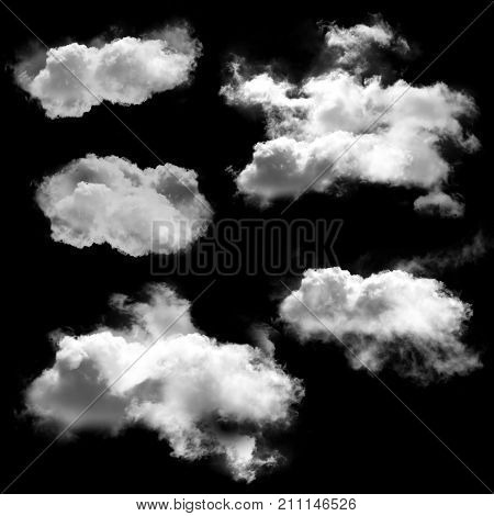 White clouds set natural 3D illustration of fluffy clouds isolated over black background smoke or fog 3D rendering collection