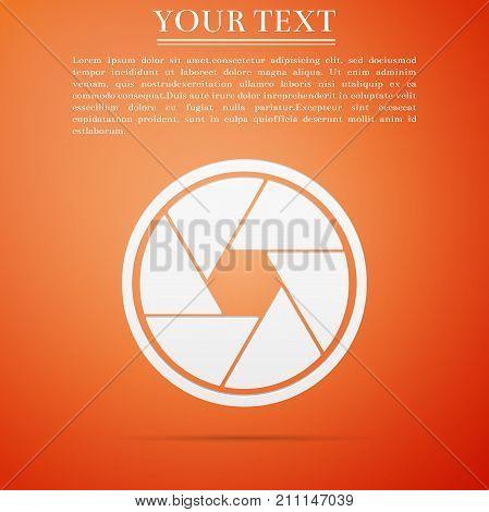 Camera shutter icon isolated on orange background. Flat design. Vector Illustration