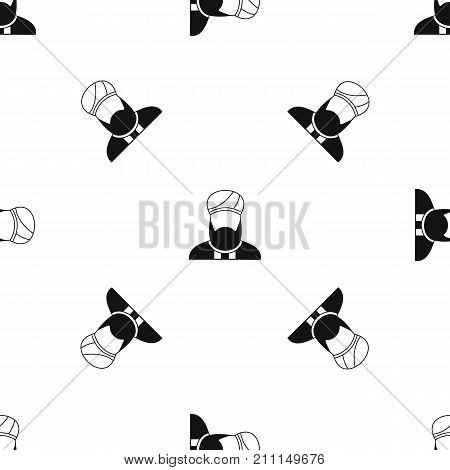 Muslim preacher pattern repeat seamless in black color for any design. Vector geometric illustration