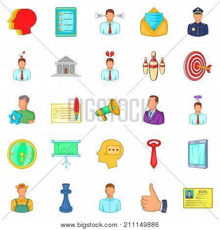 Business relationship icons set. Cartoon set of 25 business relationship vector icons for web isolated on white background