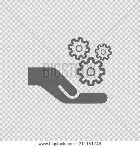 Gear on hand vector icon eps 10. Simple isolated gears outline illustration.