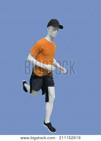 Running male mannequin isolated on blue background.