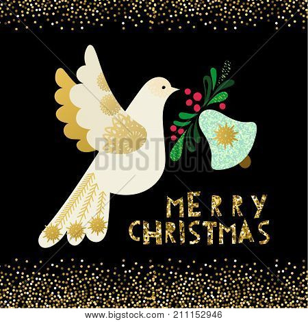 Dove of peace. A rich Christmas invitation card with golden glitter and bells on a black background.