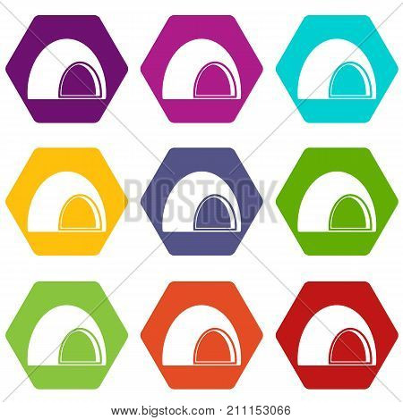 Souffle icon set many color hexahedron isolated on white vector illustration
