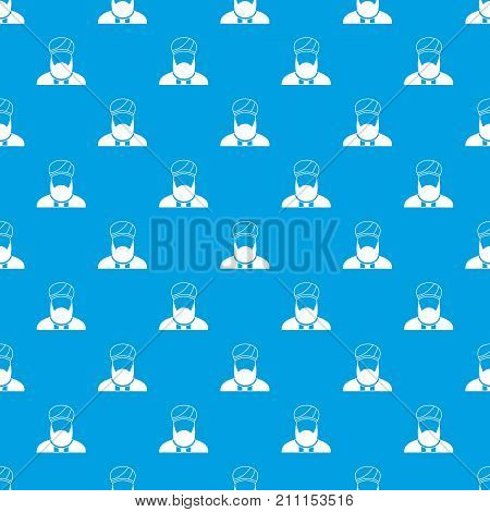 Muslim preacher pattern repeat seamless in blue color for any design. Vector geometric illustration