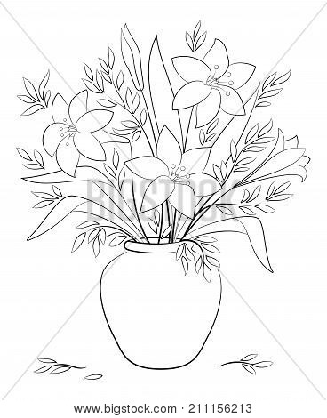 Bouquet of Lilies Flowers and Leaves in a Black Contours Isolated on White Background. Vector