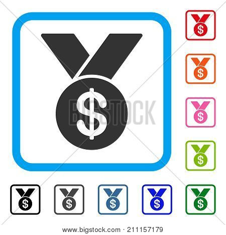 Bestseller icon. Flat gray pictogram symbol inside a blue rounded rectangle. Black, gray, green, blue, red, orange color additional versions of Bestseller vector.
