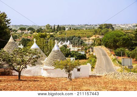 Trulli in the countryside of the Itria valley