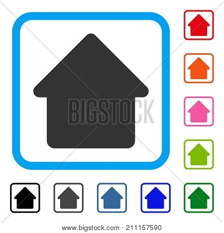 Cabin icon. Flat gray iconic symbol inside a blue rounded rectangle. Black, gray, green, blue, red, orange color additional versions of Cabin vector. Designed for web and app user interface.