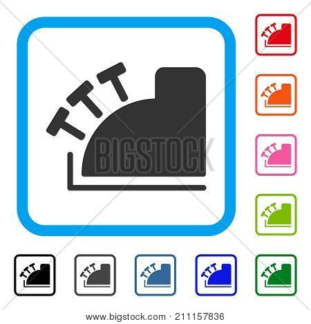 Cash Register icon. Flat grey pictogram symbol in a blue rounded rectangle. Black, gray, green, blue, red, orange color versions of Cash Register vector. Designed for web and software user interface.
