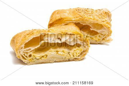 baked pastry bread on a white background