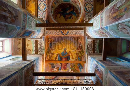 VELIKY NOVGOROD RUSSIA- AUGUST 11 2017. Interior view of Cathedral of Nativity of Our Lady St Anthony monastery in Veliky Novgorod Russia. Decorated ceiling with windows and fresco paintings. Inside view of Veliky Novgorod Russia landmark