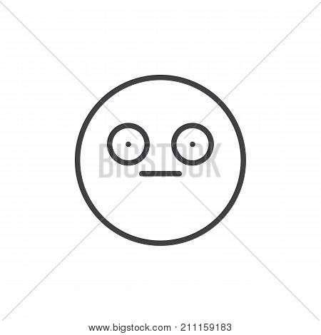 Shame face emoticon line icon, outline vector sign, linear style pictogram isolated on white. Emoji smiley symbol, logo illustration. Editable stroke