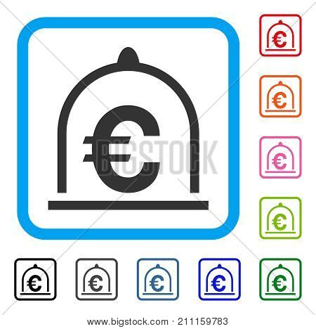 Euro Standard icon. Flat gray pictogram symbol inside a blue rounded rectangle. Black, gray, green, blue, red, orange color versions of Euro Standard vector.