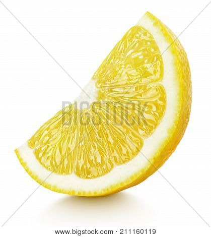 Ripe wedge of yellow lemon citrus fruit stand isolated on white background with clipping path