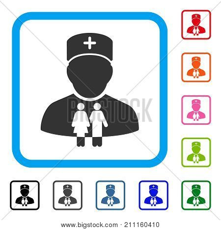 Family Doctor icon. Flat grey iconic symbol in a blue rounded rectangle. Black, gray, green, blue, red, orange color additional versions of Family Doctor vector.