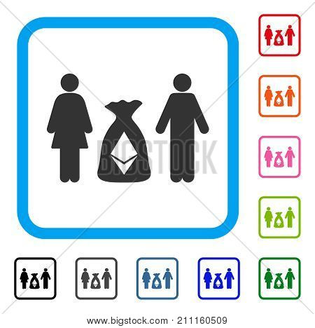 Family Ethereum Deposit Bag icon. Flat gray iconic symbol inside a blue rounded square. Black, gray, green, blue, red, orange color variants of Family Ethereum Deposit Bag vector.