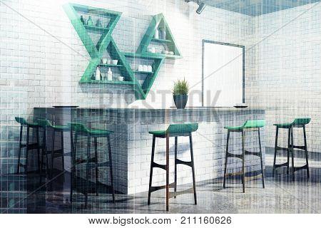 White Bar Interior Corner, Stand, Double