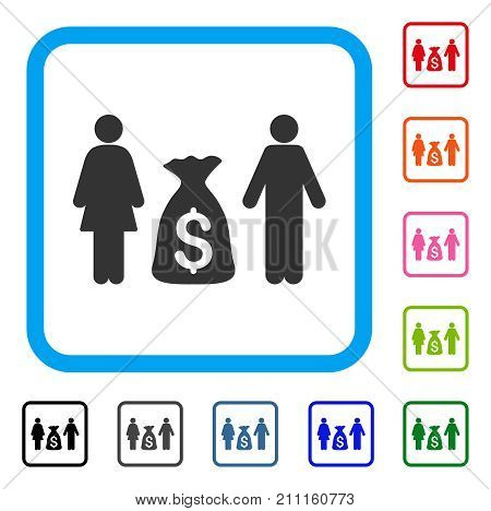 Family Money Deposit icon. Flat gray iconic symbol in a blue rounded frame. Black, gray, green, blue, red, orange color variants of Family Money Deposit vector.
