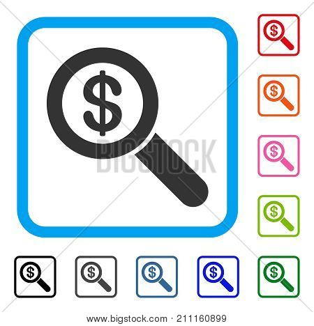 Financial Audit Loupe icon. Flat grey iconic symbol in a blue rounded rectangle. Black, gray, green, blue, red, orange color additional versions of Financial Audit Loupe vector.