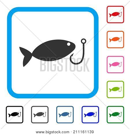 Fish Hook icon. Flat gray iconic symbol in a blue rounded square. Black, gray, green, blue, red, orange color variants of Fish Hook vector. Designed for web and application UI.