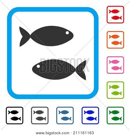 Fish Pair icon. Flat gray iconic symbol inside a blue rounded square. Black, gray, green, blue, red, orange color additional versions of Fish Pair vector.