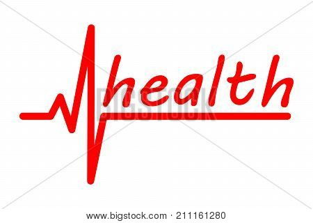 the inscription Health with electrocardiogram on white background