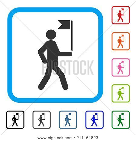 Guide Man With Flag icon. Flat grey iconic symbol inside a blue rounded squared frame. Black, gray, green, blue, red, orange color additional versions of Guide Man With Flag vector.