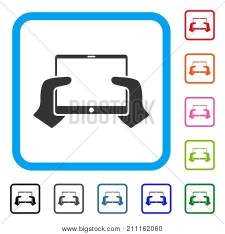 Hands Hold PDA icon. Flat grey pictogram symbol inside a blue rounded square. Black, gray, green, blue, red, orange color variants of Hands Hold PDA vector. Designed for web and app user interface.