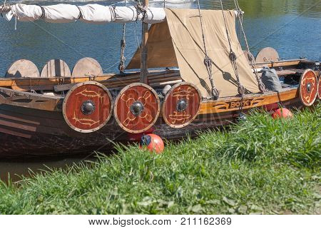 St. Petersburg Russia - May 27 2017: Viking Viking ship replica in St. Petersburg Russia