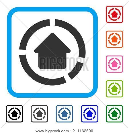 House Diagram icon. Flat gray iconic symbol inside a blue rounded frame. Black, gray, green, blue, red, orange color additional versions of House Diagram vector.
