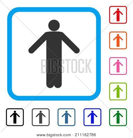 Ignorance Pose icon. Flat grey pictogram symbol inside a blue rounded rectangle. Black, gray, green, blue, red, orange color versions of Ignorance Pose vector. Designed for web and app interfaces.