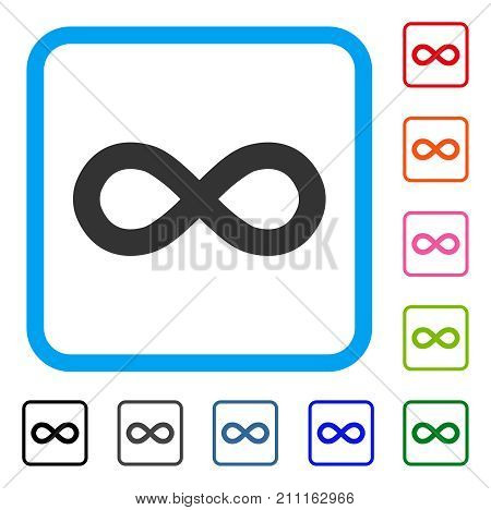 Infinity icon. Flat grey pictogram symbol in a blue rounded frame. Black, gray, green, blue, red, orange color variants of Infinity vector. Designed for web and app UI.