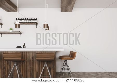 White And Wooden Bar Interior