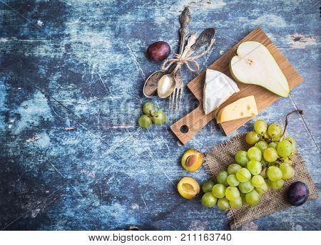Fresh Natural Fruits And Cheese