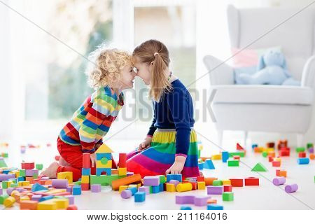 Kids Play With Toy Blocks. Toys For Children.