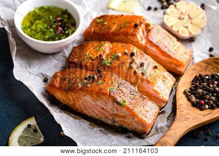 Delicious Fried Salmon Fillet