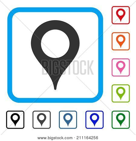 Map Marker icon. Flat gray iconic symbol inside a blue rounded rectangle. Black, gray, green, blue, red, orange color additional versions of Map Marker vector. Designed for web and application UI.