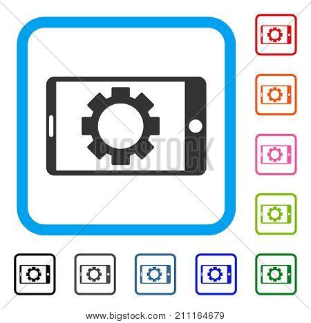 Mobile Settings Gear icon. Flat grey pictogram symbol in a blue rounded frame. Black, gray, green, blue, red, orange color versions of Mobile Settings Gear vector. Designed for web and app interfaces.