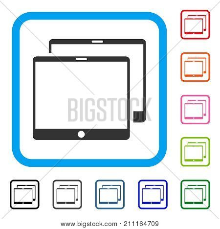 Mobile Tabs icon. Flat gray iconic symbol in a blue rounded frame. Black, gray, green, blue, red, orange color additional versions of Mobile Tabs vector. Designed for web and app UI.