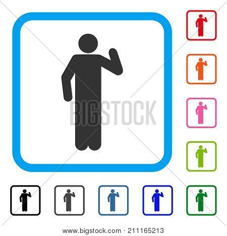 Opinion Pose icon. Flat grey iconic symbol in a blue rounded frame. Black, gray, green, blue, red, orange color versions of Opinion Pose vector. Designed for web and app user interface.